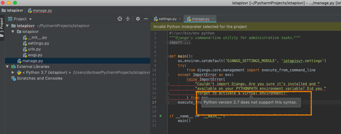 PyCharm] 'Python version 2 7 does not support this syntax